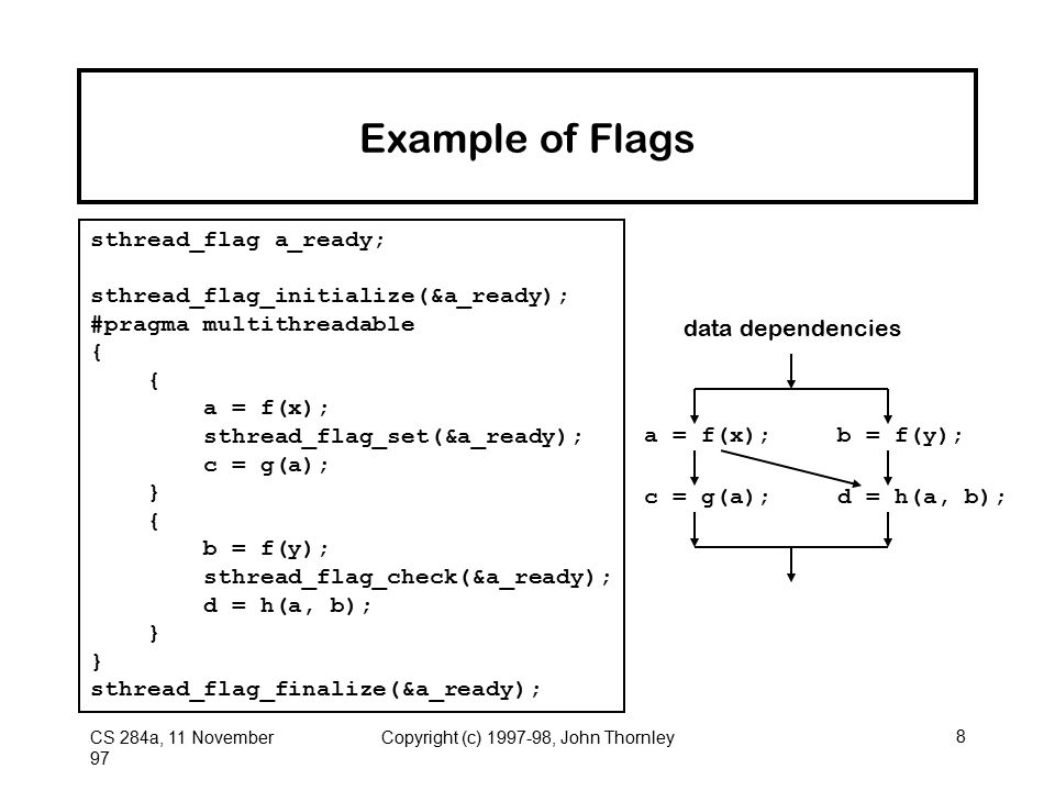 CS 284a, 11 November 97 Copyright (c) 1997-98, John Thornley8 Example of Flags sthread_flag a_ready; sthread_flag_initialize(&a_ready); #pragma multithreadable { { a = f(x); sthread_flag_set(&a_ready); c = g(a); } { b = f(y); sthread_flag_check(&a_ready); d = h(a, b); } sthread_flag_finalize(&a_ready); data dependencies a = f(x);b = f(y); c = g(a);d = h(a, b);