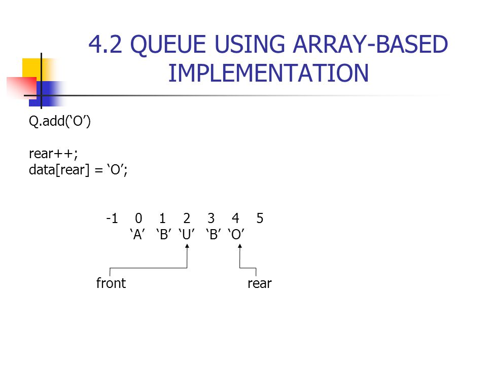 4.2 QUEUE USING ARRAY-BASED IMPLEMENTATION Q.add('O') rear++; data[rear] = 'O'; -1 0 1 2 3 4 5 'A' 'B' 'U' 'B' 'O' front rear
