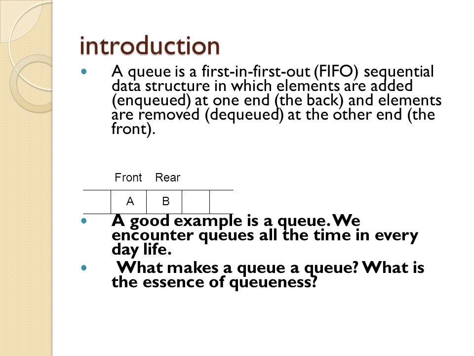The LinkedQueue Class public class LinkedQueue implements Queue { ObjectNode front; ObjectNode rear; public LinkedQueue() { front = rear = null; } // other Queue methods }