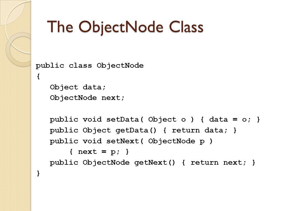 The ObjectNode Class public class ObjectNode { Object data; ObjectNode next; public void setData( Object o ) { data = o; } public Object getData() { return data; } public void setNext( ObjectNode p ) { next = p; } public ObjectNode getNext() { return next; } }