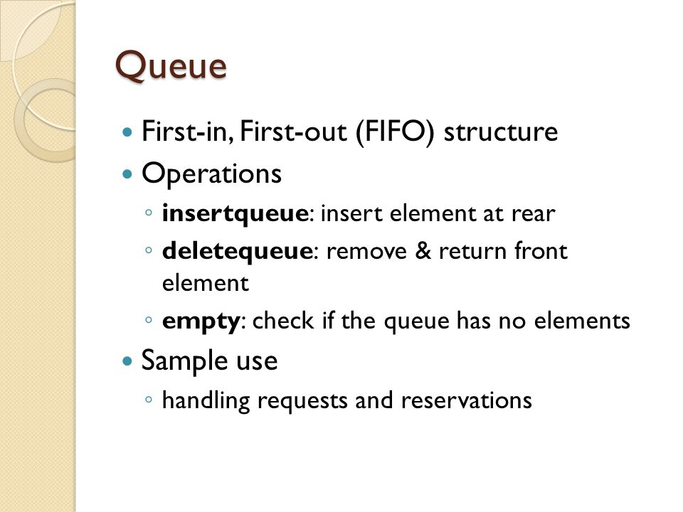 Priority Queue The priority queue is a data structure in which th natural ordering of the elements does determine the results of its basic operations.