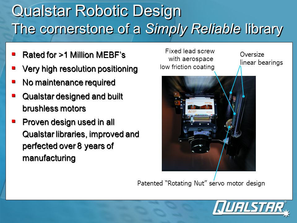 Qualstar Robotic Design The cornerstone of a Simply Reliable library  Rated for >1 Million MEBF's  Very high resolution positioning  No maintenance required  Qualstar designed and built brushless motors  Proven design used in all Qualstar libraries, improved and perfected over 8 years of manufacturing  Rated for >1 Million MEBF's  Very high resolution positioning  No maintenance required  Qualstar designed and built brushless motors  Proven design used in all Qualstar libraries, improved and perfected over 8 years of manufacturing Oversize linear bearings Fixed lead screw with aerospace low friction coating Patented Rotating Nut servo motor design