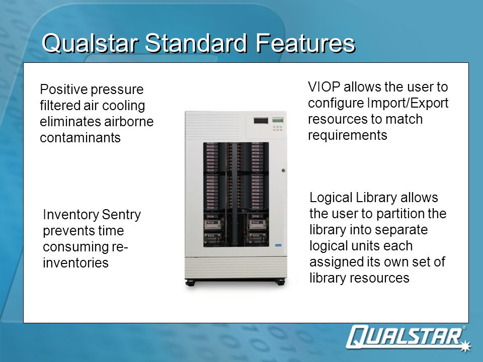 VIOP Means More Control  Standard in all TLS and RLS libraries  Allows reassignment of any range of media storage slots to the I/O port function  Boundaries can be set at magazine or slot increments  Supports bulk load/unload and group backup strategies  Standard in all TLS and RLS libraries  Allows reassignment of any range of media storage slots to the I/O port function  Boundaries can be set at magazine or slot increments  Supports bulk load/unload and group backup strategies 1 2 3 4 5 6 7 8 9 10 11 12 13 14 15 16 17 18 19 20 21 22 23 24 25 26 27 28 A B C D E F I/O 11 12 13 14 15 16 17 18 19 20 21 22 23 24 25 26 27 28 A B C D E F I/O Without VIOP I/O port resources are fixed With VIOP I/O port resources are variable