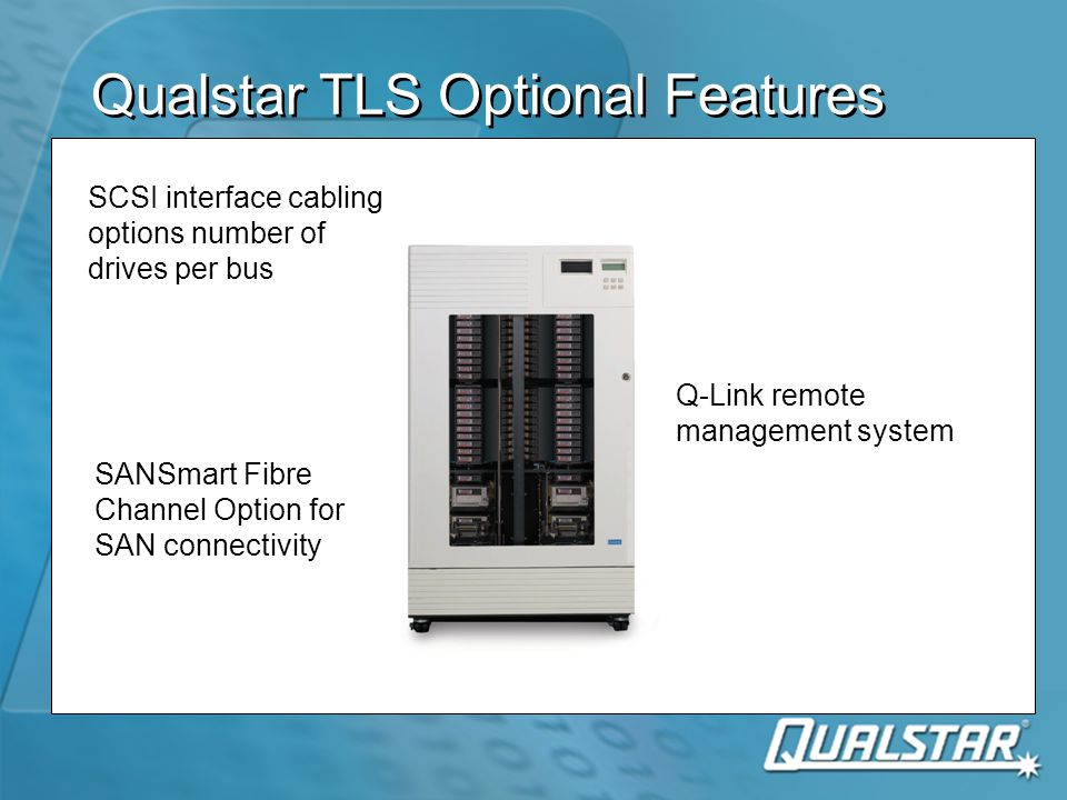 Qualstar TLS Optional Features SCSI interface cabling options number of drives per bus SANSmart Fibre Channel Option for SAN connectivity Q-Link remote management system