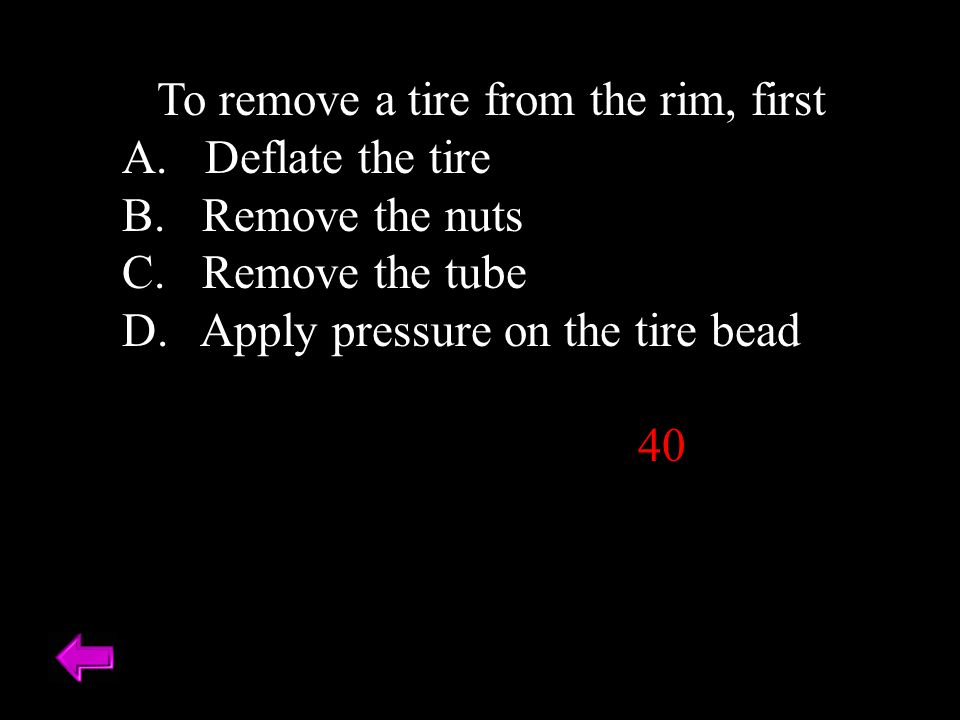 When mounting a tubeless tire, first inflate the tire to A.