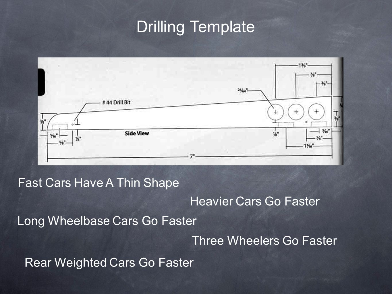 Drilling Template Fast Cars Have A Thin Shape Heavier Cars Go Faster Long Wheelbase Cars Go Faster Three Wheelers Go Faster Rear Weighted Cars Go Fast