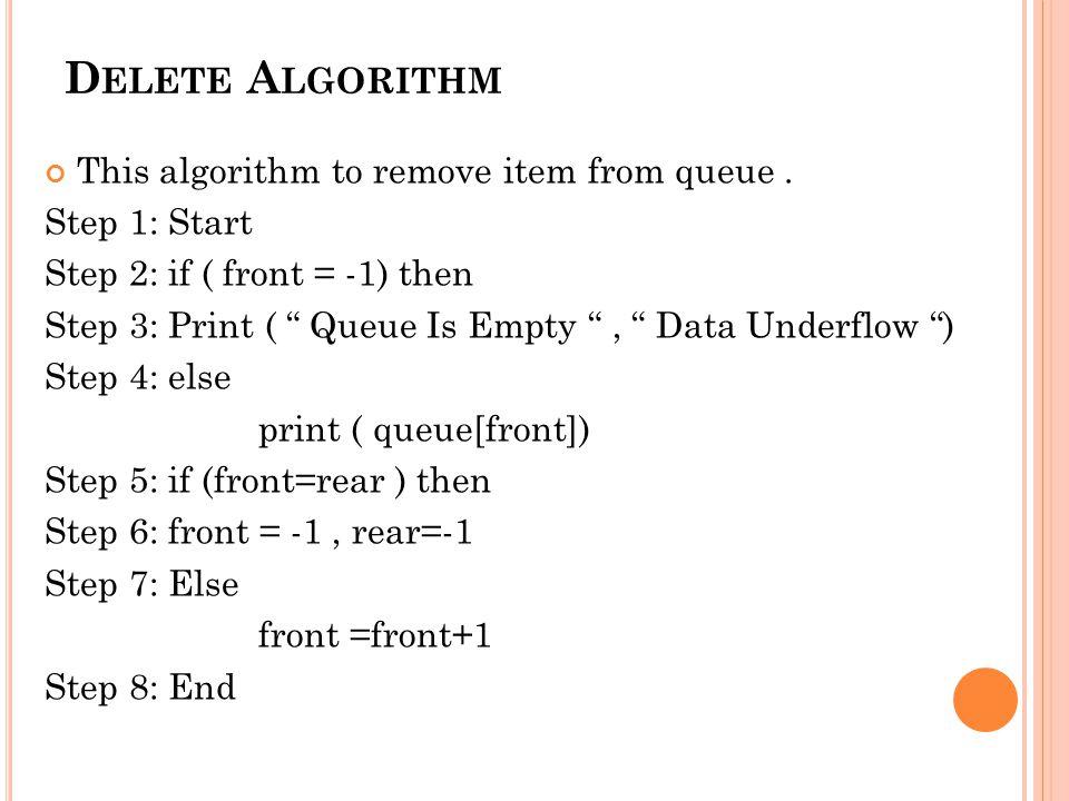 D ELETE A LGORITHM This algorithm to remove item from queue.