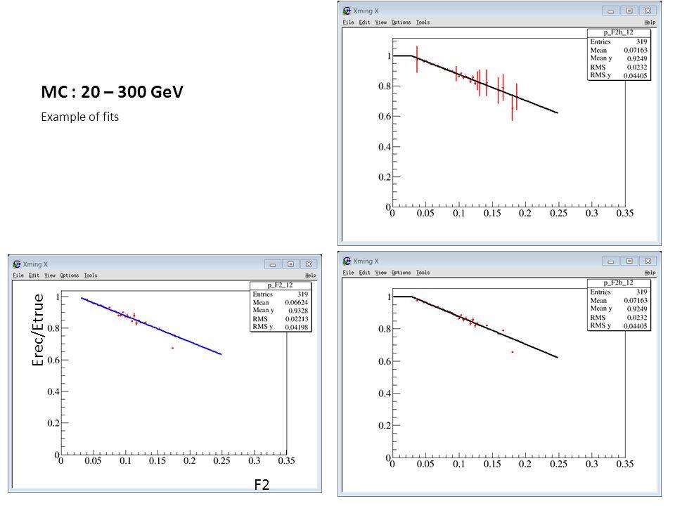 MC : 20 – 300 GeV Example of fits F2 Erec/Etrue