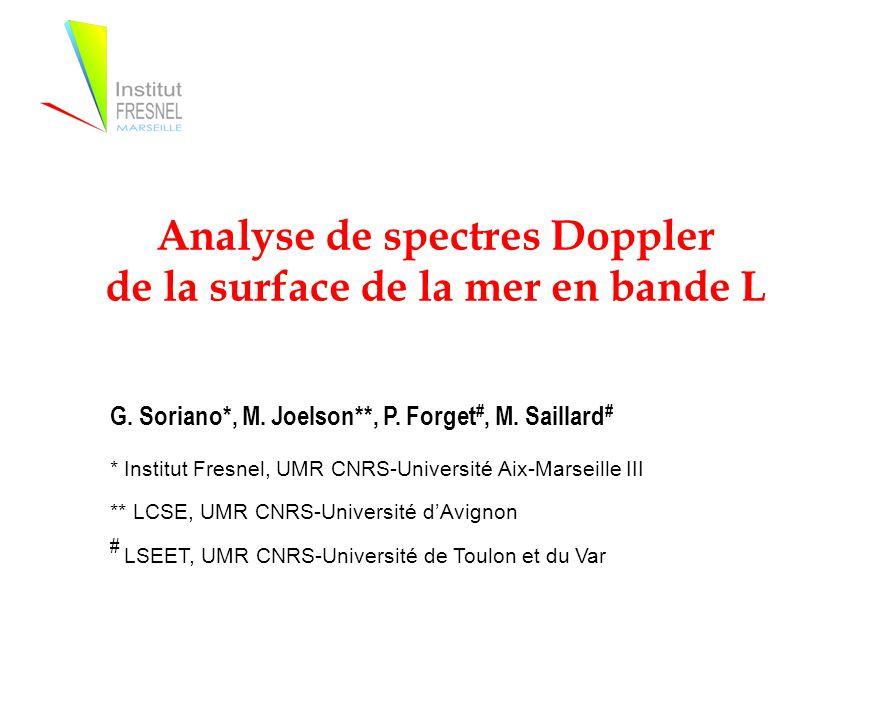 Analyse de spectres Doppler de la surface de la mer en bande L G.
