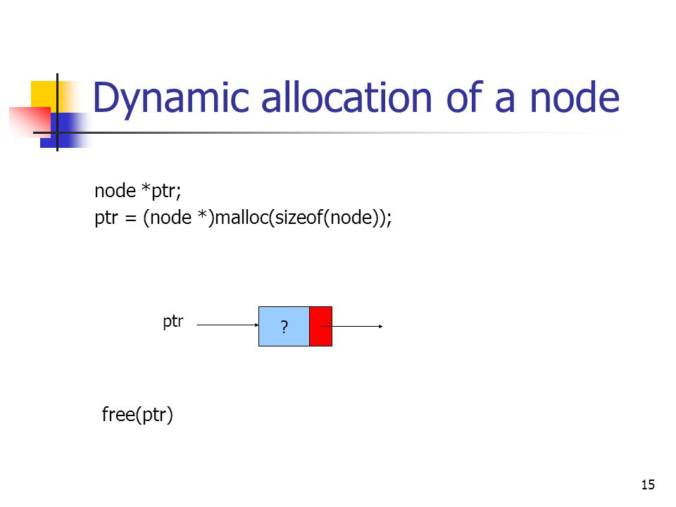 15 Dynamic allocation of a node node *ptr; ptr = (node *)malloc(sizeof(node)); ptr free(ptr)