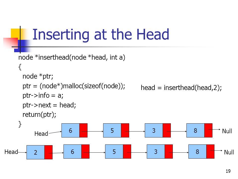 19 Inserting at the Head node *inserthead(node *head, int a) { node *ptr; ptr = (node*)malloc(sizeof(node)); ptr->info = a; ptr->next = head; return(ptr); } 6538 Head Null 2 6538 Head head = inserthead(head,2);