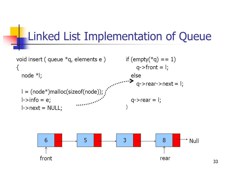 Linked List Implementation of Queue 33 6538 front Null void insert ( queue *q, elements e ) { node *l; l = (node*)malloc(sizeof(node)); l->info = e; l->next = NULL; rear if (empty(*q) == 1) q->front = l; else q->rear->next = l; q->rear = l; }