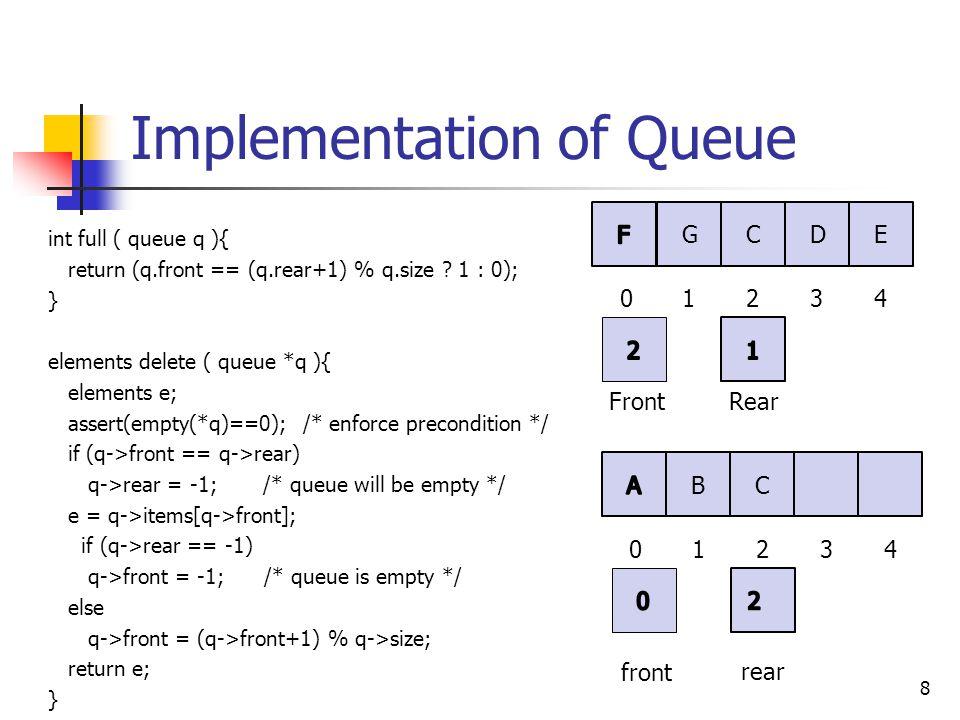 Implementation of Queue 9 void insert ( queue *q, elements e ) { assert(full(*q)==0); /* enforce precondition */ q->rear = (q->rear+1) % q->size; q->items[q->rear] = e; if (q->front == -1) /* queue was empty */ q->front = 0; /* queue of one item */ } void clear ( queue *q ) { free(q->items); q->size = 0; q->front = -1; q->rear = -1; } B C 01234 front rear