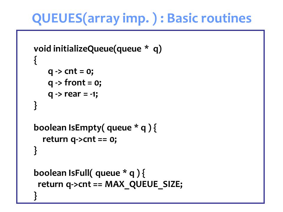 QUEUES(array imp.