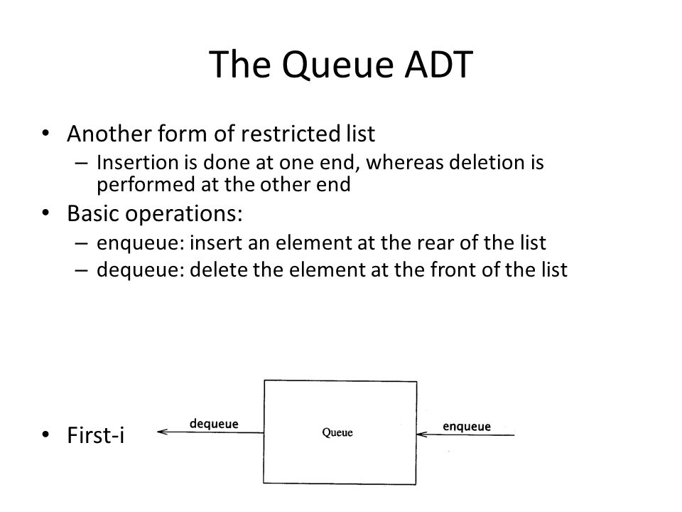 The Queue ADT Another form of restricted list – Insertion is done at one end, whereas deletion is performed at the other end Basic operations: – enque