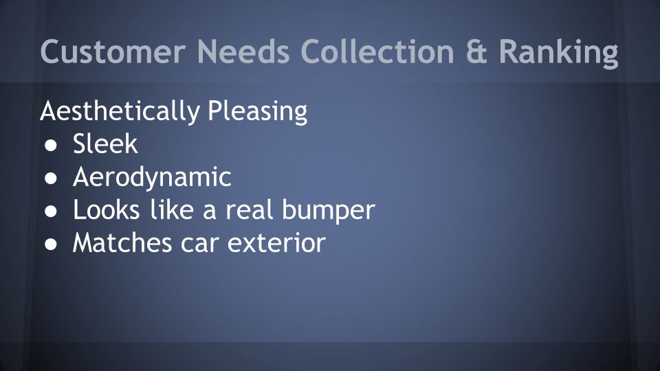 Customer Needs Collection & Ranking Aesthetically Pleasing ● Sleek ● Aerodynamic ● Looks like a real bumper ● Matches car exterior