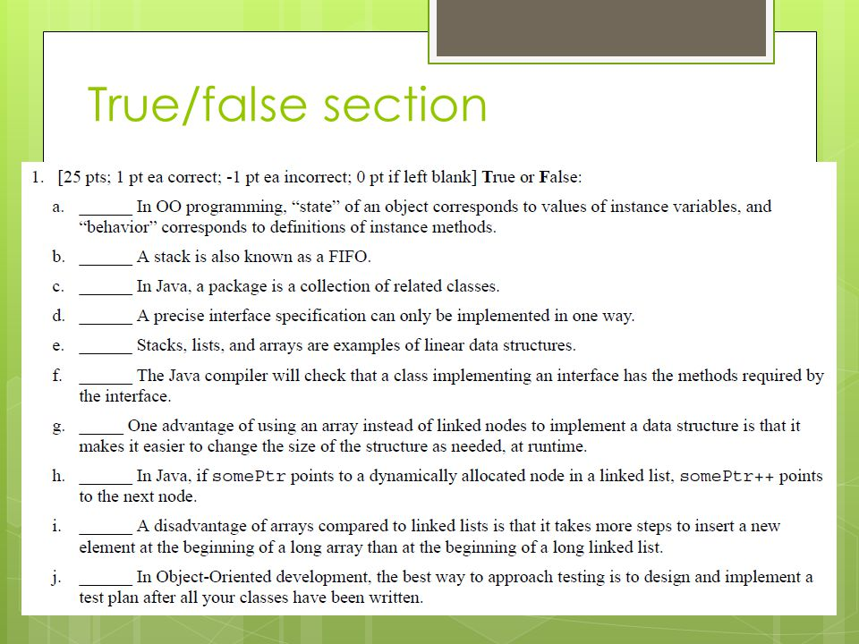 True/false section