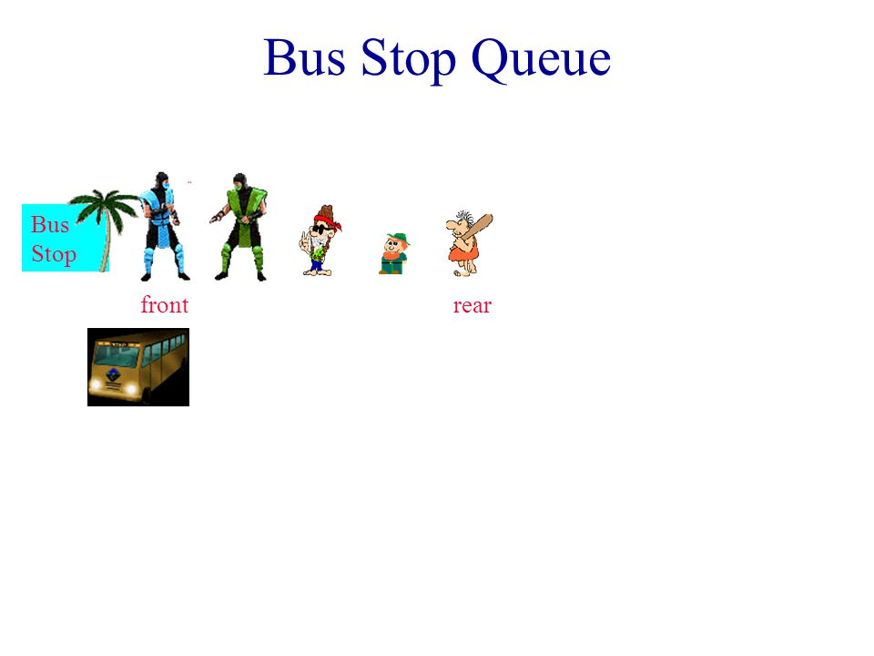 Queues Linear list. One end is called front. Other end is called rear.