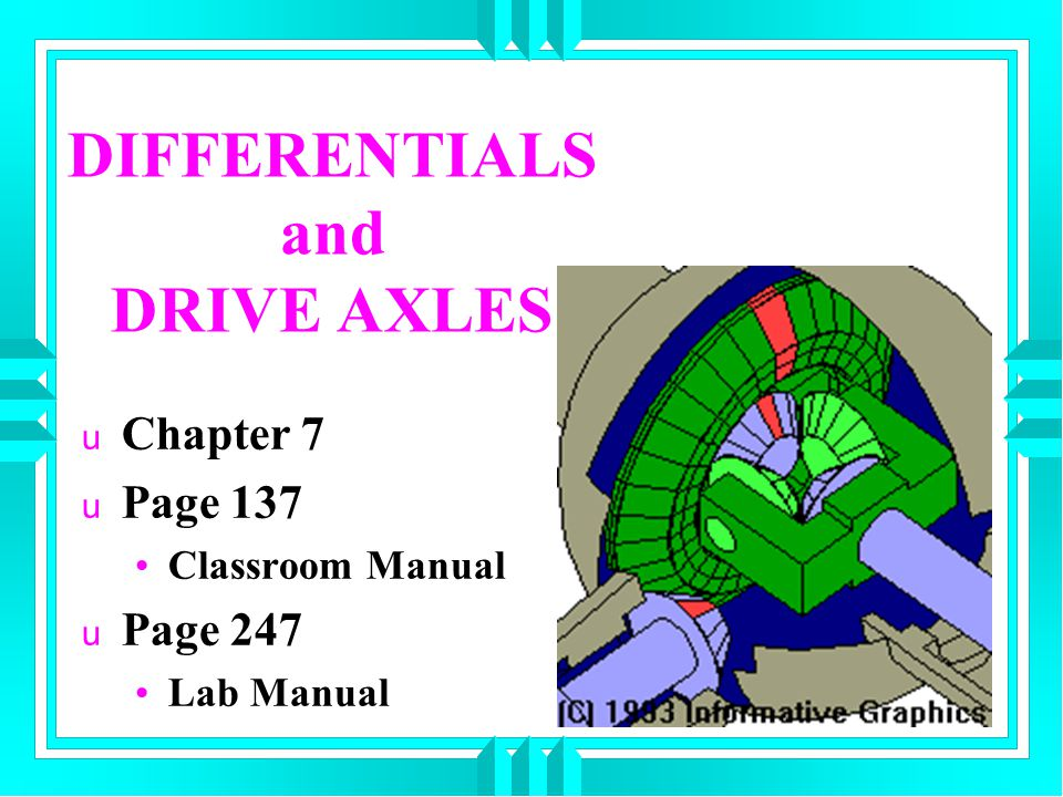 DIFFERENTIALS and DRIVE AXLES u Chapter 7 u Page 137 Classroom Manual u Page 247 Lab Manual