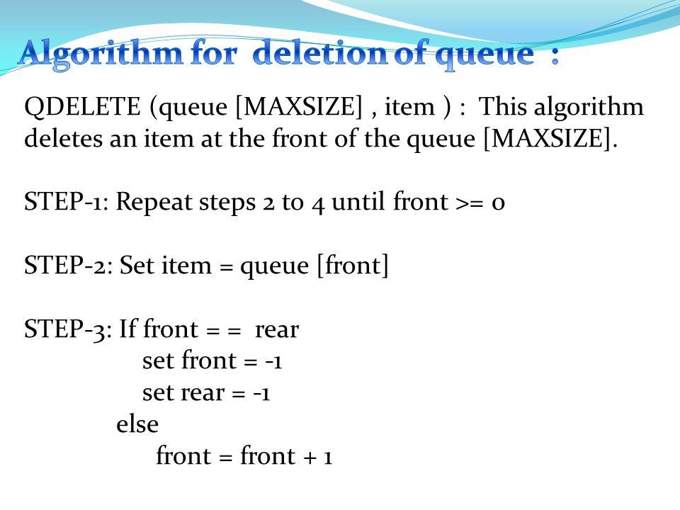 else { rear = rear + 1 ; } queue [rear] = item ; } else { printf ( \n Queue is full ); }