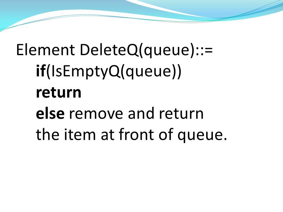 Queue AddQ(queue,item)::= if(IsFullQ(queue))queueFull else insert item at rear of queue and return queue Boolean IsEmptyQ(queue)::= if(queue==CreateQ(maxQueueSize)) return TRUE else return FALSE