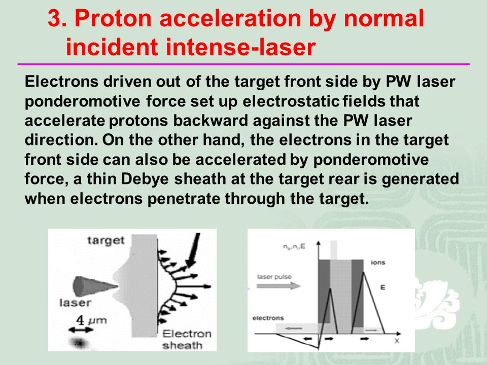 Electrons driven out of the target front side by PW laser ponderomotive force set up electrostatic fields that accelerate protons backward against the PW laser direction.