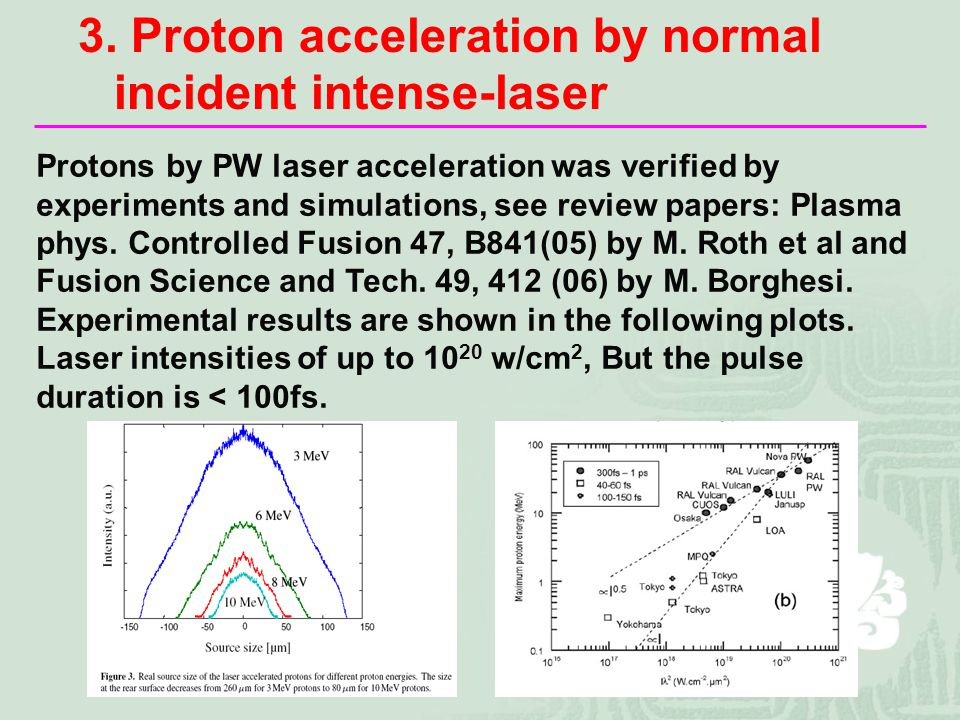 Protons by PW laser acceleration was verified by experiments and simulations, see review papers: Plasma phys.