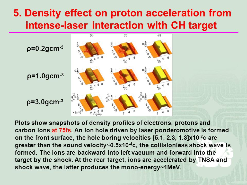 5. Density effect on proton acceleration from intense-laser interaction with CH target Plots show snapshots of density profiles of electrons, protons