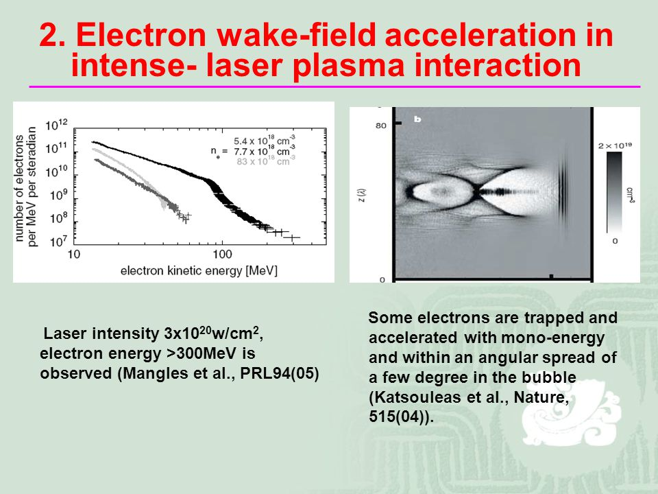 Laser intensity 3x10 20 w/cm 2, electron energy >300MeV is observed (Mangles et al., PRL94(05) 2.