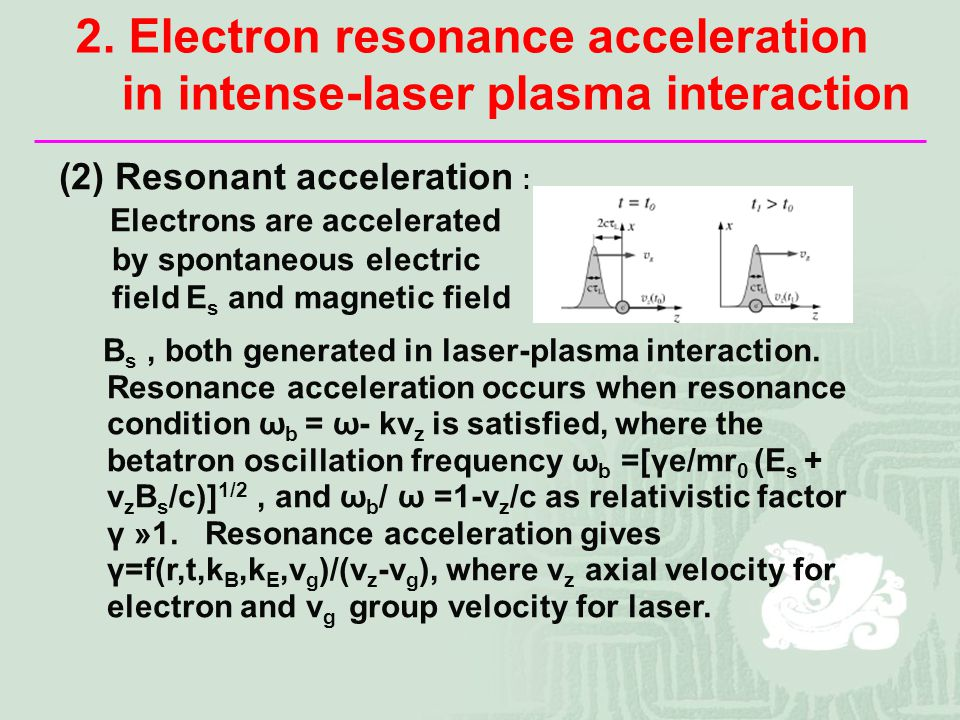 (2) Resonant acceleration : Electrons are accelerated by spontaneous electric field E s and magnetic field B s, both generated in laser-plasma interaction.