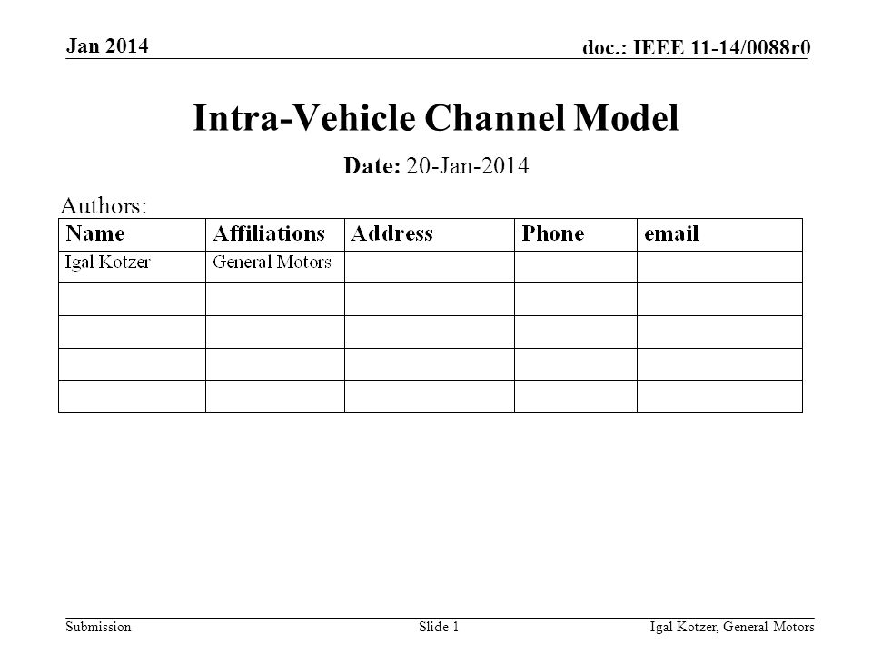 Submission doc.: IEEE 11-14/0088r0 Jan 2014 Igal Kotzer, General MotorsSlide 1 Intra-Vehicle Channel Model Date: 20-Jan-2014 Authors: