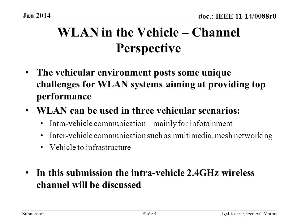 Submission doc.: IEEE 11-14/0088r0 Jan 2014 Igal Kotzer, General MotorsSlide 4 WLAN in the Vehicle – Channel Perspective The vehicular environment pos