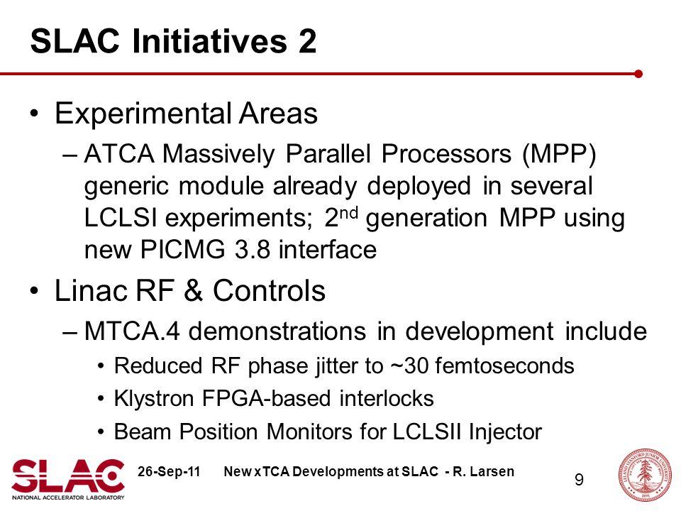 26-Sep-11 10 xTCA Status LLRF for Main Linac S-Band 50MW station –Prototype developed, accelerator test planned for October 2011 (AIP program) –Struck digitizer AMC w/ SLAC designed RTM Klystron Interlocks –Prototype development near completion, test planned on L-Band test station Q1-2 FY12 –TEWS FPGA AMC w/ SLAC designed RTM BPM System –AIP program approved, commercial AMC digitizer w/ SLAC designed RTM, requirements in development New xTCA Developments at SLAC - R.