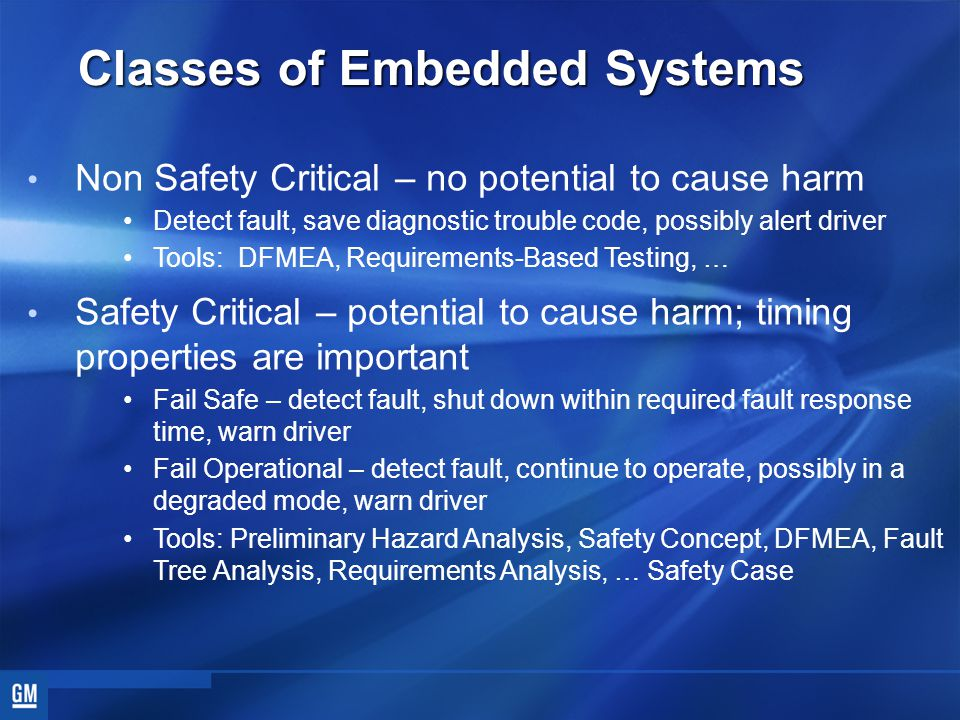 Classes of Embedded Systems Non Safety Critical – no potential to cause harm Detect fault, save diagnostic trouble code, possibly alert driver Tools: DFMEA, Requirements-Based Testing, … Safety Critical – potential to cause harm; timing properties are important Fail Safe – detect fault, shut down within required fault response time, warn driver Fail Operational – detect fault, continue to operate, possibly in a degraded mode, warn driver Tools: Preliminary Hazard Analysis, Safety Concept, DFMEA, Fault Tree Analysis, Requirements Analysis, … Safety Case