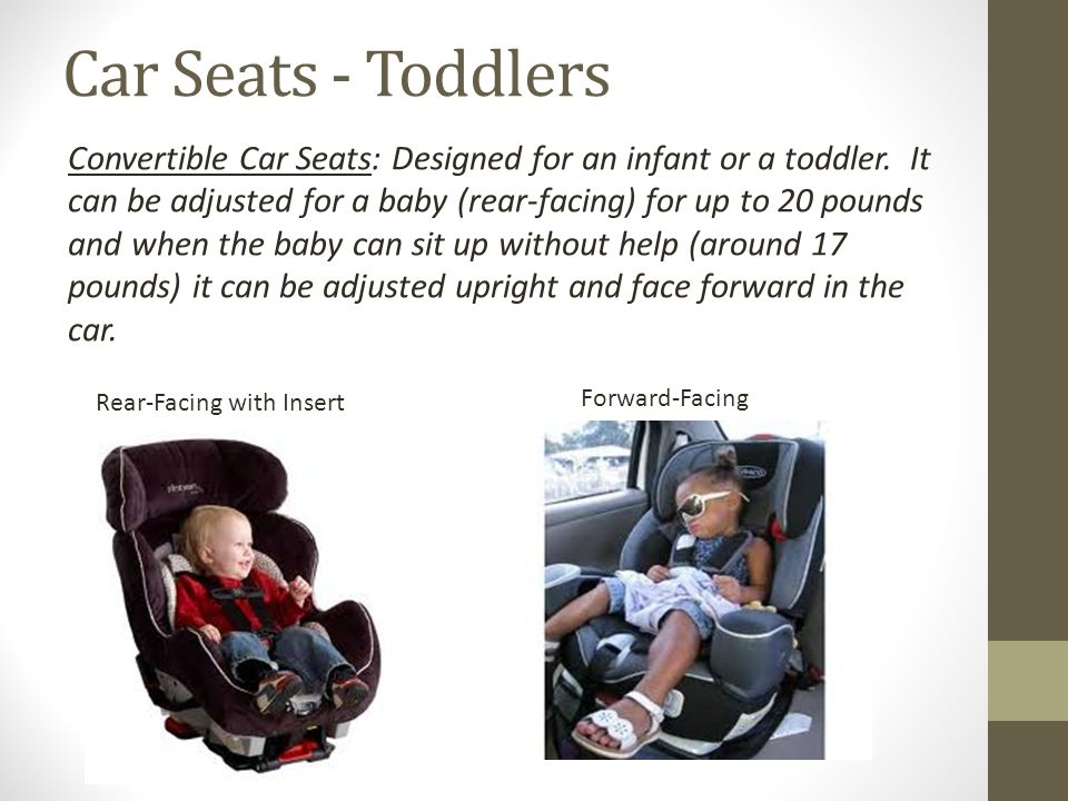 Car Seats - Children Booster Seats: Children up to 8 years old or weighing less than 80 pounds must ride in a booster seat in the rear of the vehicle.
