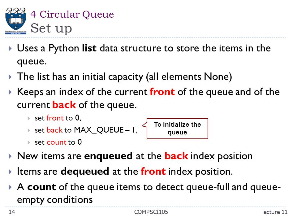 4 Circular Queue Set up  Uses a Python list data structure to store the items in the queue.