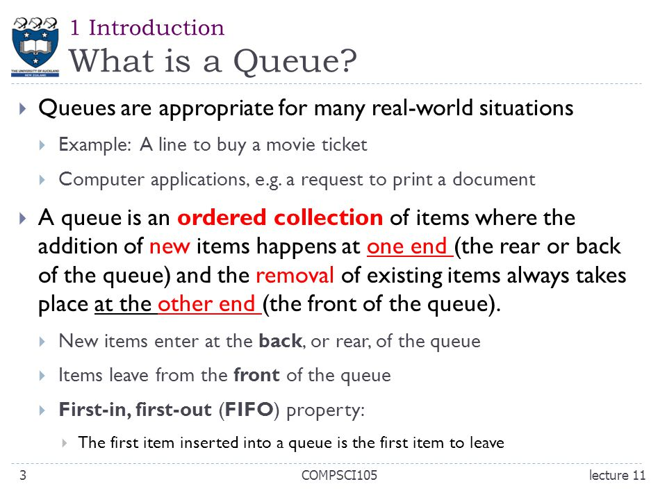 1 Introduction What is a Queue.