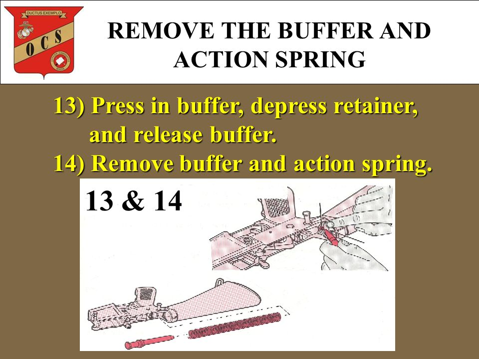 REMOVE THE BUFFER AND ACTION SPRING 13 & 14 13) Press in buffer, depress retainer, and release buffer.