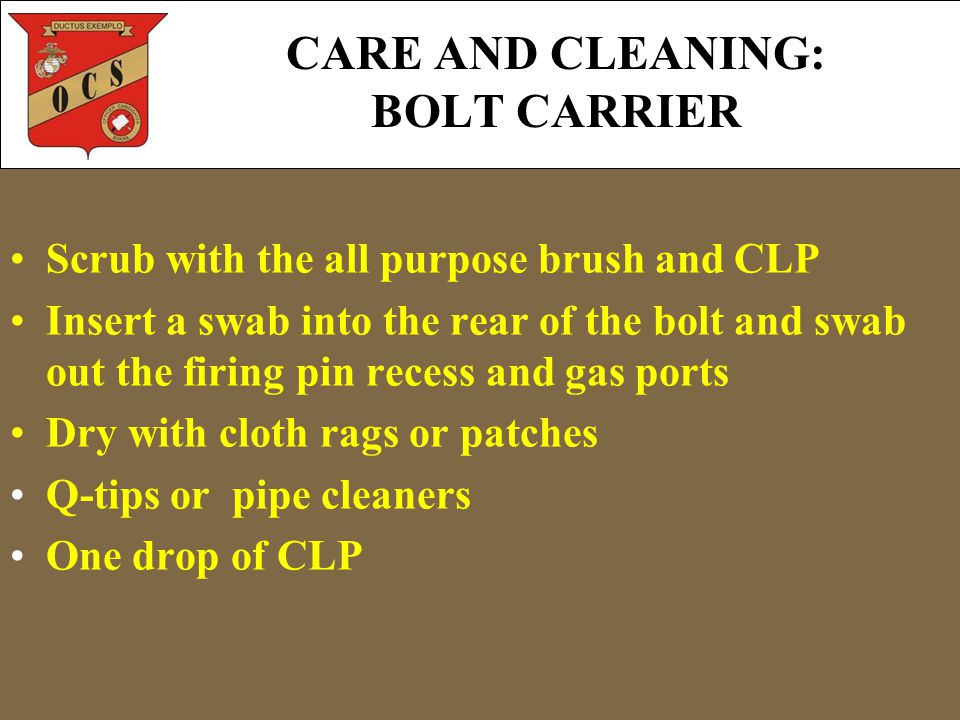CARE AND CLEANING: BOLT CARRIER Scrub with the all purpose brush and CLP Insert a swab into the rear of the bolt and swab out the firing pin recess and gas ports Dry with cloth rags or patches Q-tips or pipe cleaners One drop of CLP