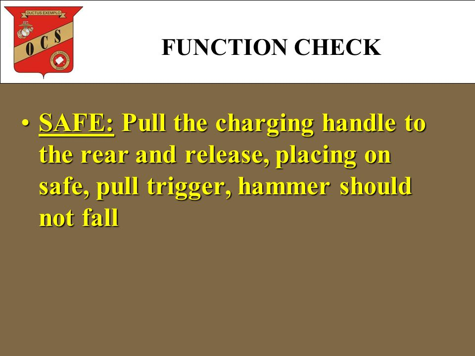 FUNCTION CHECK SAFE: Pull the charging handle to the rear and release, placing on safe, pull trigger, hammer should not fallSAFE: Pull the charging ha