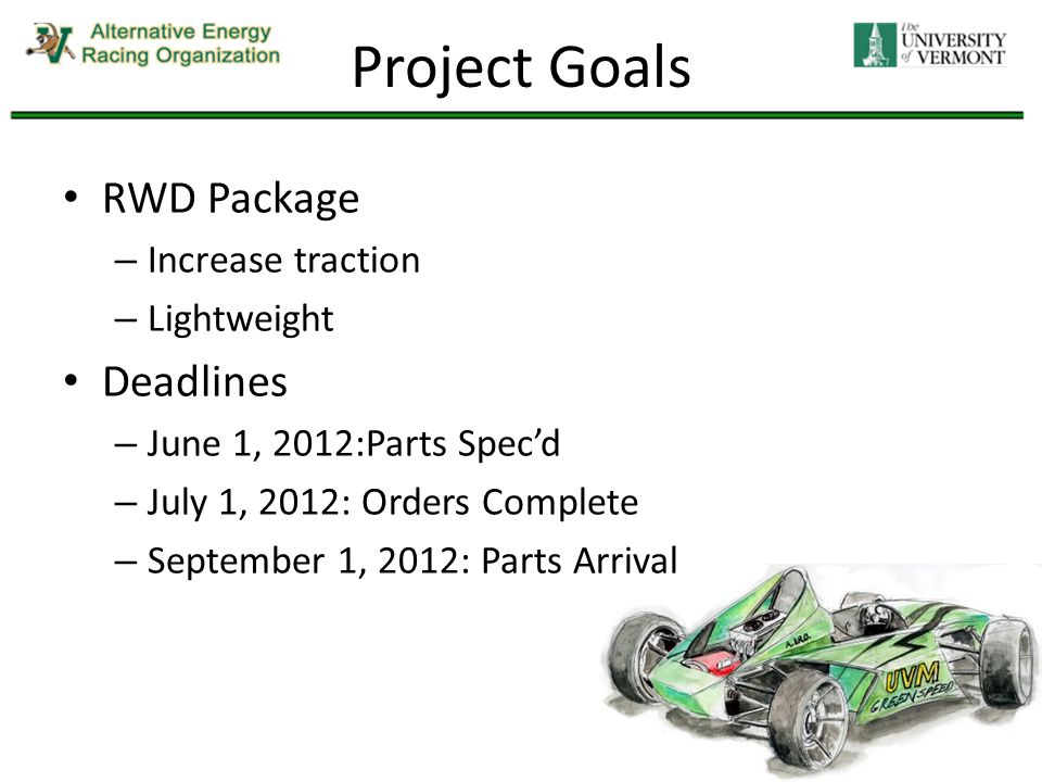 Project Goals RWD Package – Increase traction – Lightweight Deadlines – June 1, 2012:Parts Spec'd – July 1, 2012: Orders Complete – September 1, 2012: Parts Arrival