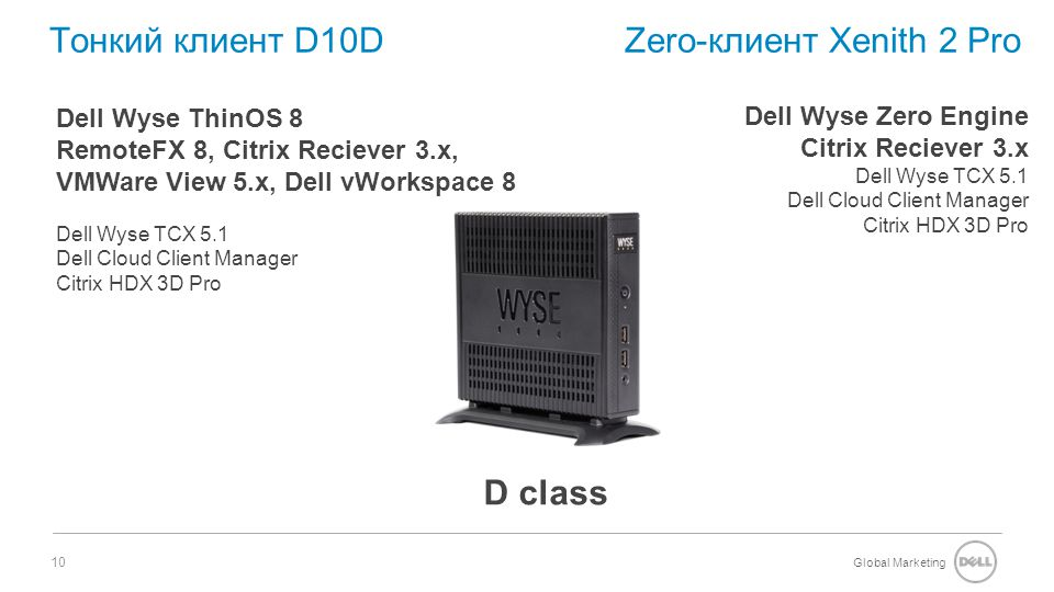 Global Marketing 10 Тонкий клиент D10D Zero-клиент Xenith 2 Pro Dell Wyse ThinOS 8 RemoteFX 8, Citrix Reciever 3.x, VMWare View 5.x, Dell vWorkspace 8 Dell Wyse TCX 5.1 Dell Cloud Client Manager Citrix HDX 3D Pro D class Dell Wyse Zero Engine Citrix Reciever 3.x Dell Wyse TCX 5.1 Dell Cloud Client Manager Citrix HDX 3D Pro