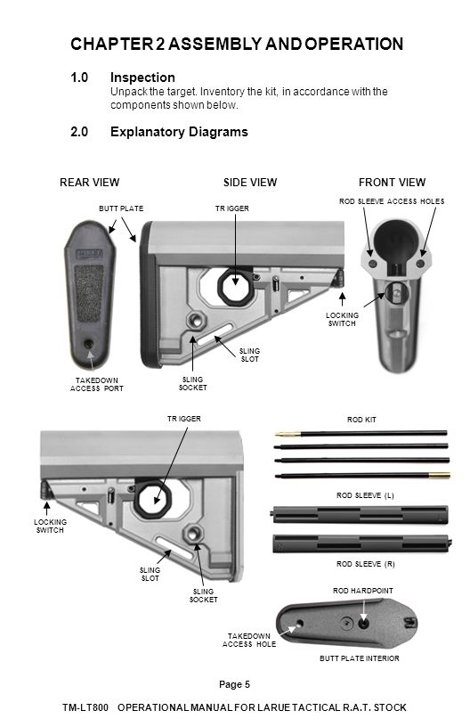CHAPTER 2 ASSEMBLY AND OPERATION 1.0Inspection Unpack the target. Inventory the kit, in accordance with the components shown below. 2.0Explanatory Dia