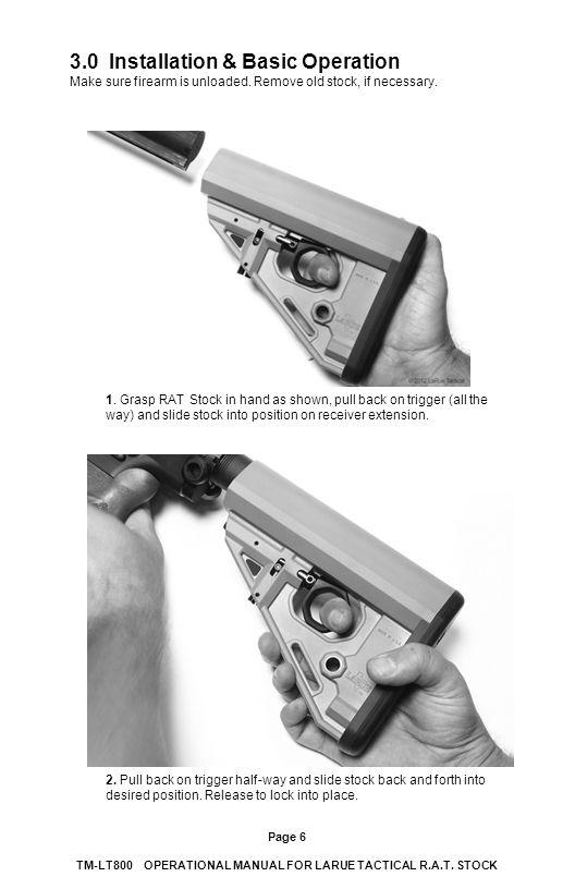 3.0 Installation & Basic Operation Make sure firearm is unloaded.