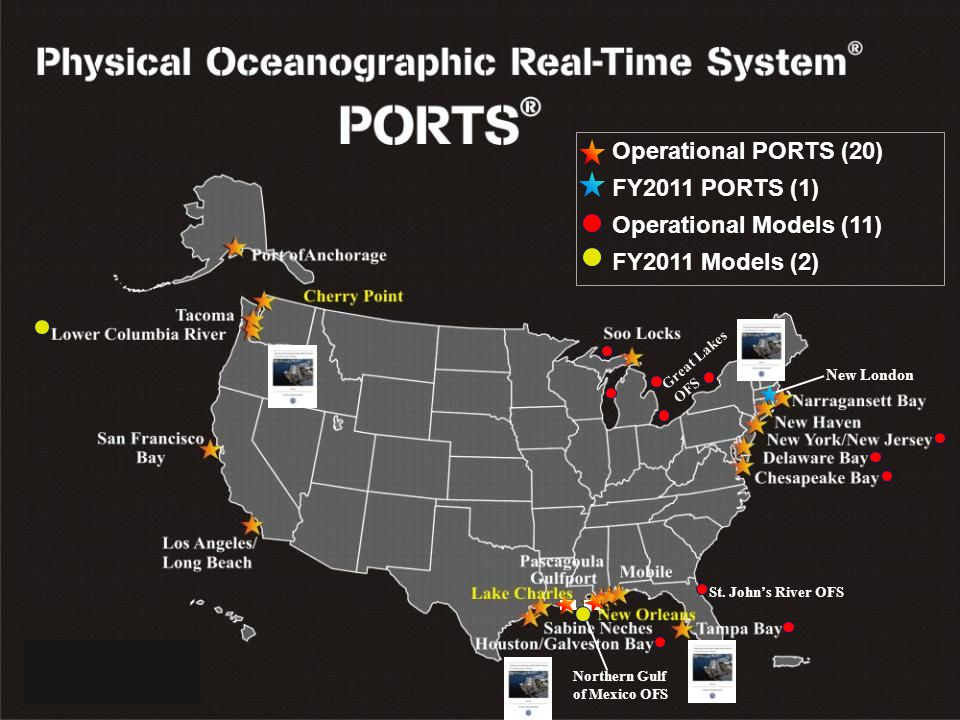 NOAA's CENTER for OPERATIONAL OCEANOGRAPHIC PRODUCTS and SERVICES Operational PORTS (20) FY2011 PORTS (1) Operational Models (11) FY2011 Models (2) New London Great Lakes OFS St.