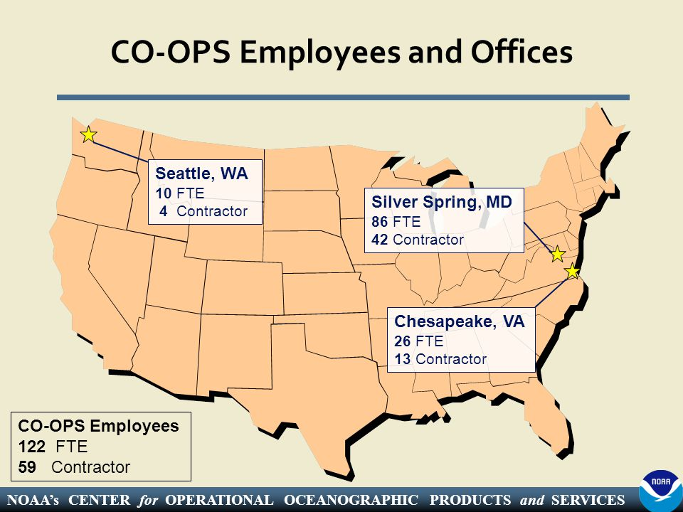 NOAA's CENTER for OPERATIONAL OCEANOGRAPHIC PRODUCTS and SERVICES CO-OPS Employees and Offices Seattle, WA 10 FTE 4 Contractor Silver Spring, MD 86 FTE 42 Contractor Chesapeake, VA 26 FTE 13 Contractor CO-OPS Employees 122 FTE 59 Contractor