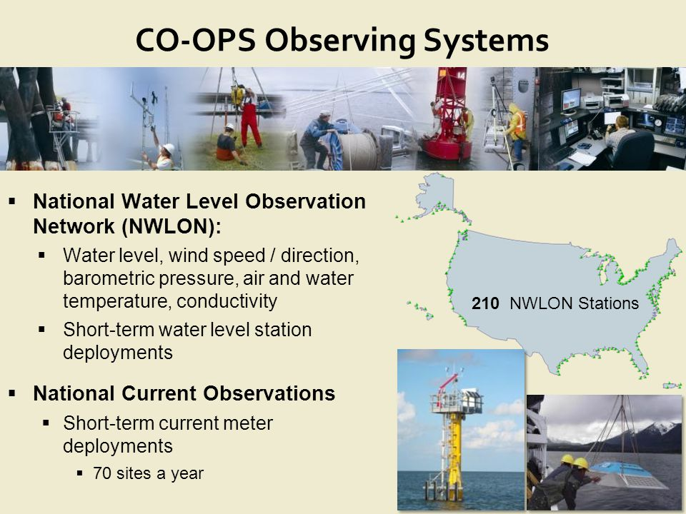 NOAA's CENTER for OPERATIONAL OCEANOGRAPHIC PRODUCTS and SERVICES CO-OPS Observing Systems  National Water Level Observation Network (NWLON):  Water level, wind speed / direction, barometric pressure, air and water temperature, conductivity  Short-term water level station deployments  National Current Observations  Short-term current meter deployments  70 sites a year 210 NWLON Stations