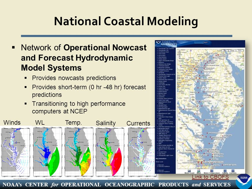 NOAA's CENTER for OPERATIONAL OCEANOGRAPHIC PRODUCTS and SERVICES National Coastal Modeling  Network of Operational Nowcast and Forecast Hydrodynamic Model Systems  Provides nowcasts predictions  Provides short-term (0 hr -48 hr) forecast predictions  Transitioning to high performance computers at NCEP Link to CBOFS WindsWLTemp.