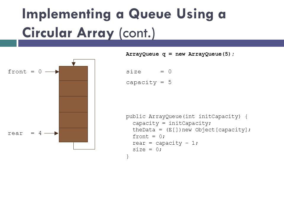 size = 0 front = 0 rear = 4 public ArrayQueue(int initCapacity) { capacity = initCapacity; theData = (E[])new Object[capacity]; front = 0; rear = capacity – 1; size = 0; } ArrayQueue q = new ArrayQueue(5); capacity = 5
