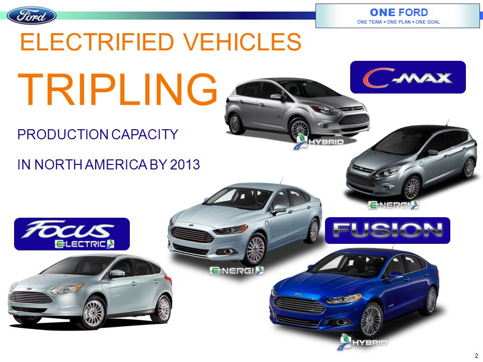 ONE FORD ONE TEAM  ONE PLAN  ONE GOAL 2 ELECTRIFIED VEHICLES PRODUCTION CAPACITY IN NORTH AMERICA BY 2013 TRIPLING